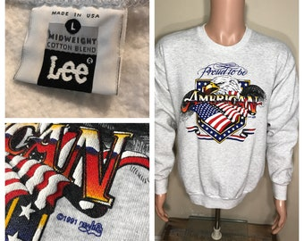 Vintage Bald Eagle sweatshirt // Proud to be an american // adult size large // heather gray 1991 90s // 4th of July Memorial day party