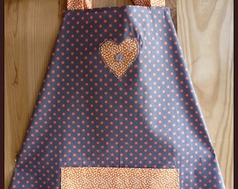 Brown apron with orange dots with applied and pouch