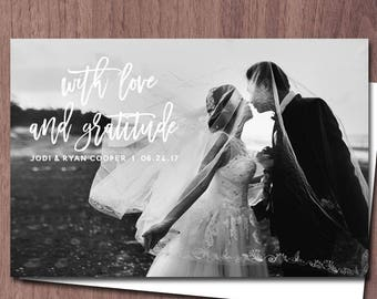 Wedding Thank You Photo Card POSTCARD Wedding Thank You Postcard Modern With love and gratitude with love and thanks custom printable