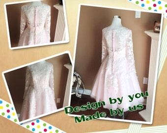 Blush wedding dress, 1950s lace wedding dress, long sleeves wedding dress