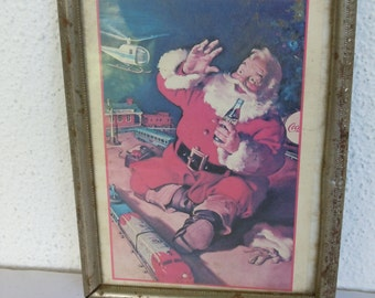 Vintage Christmas Coke Santa Ad Illustration Haddon Sundblom Santa Claus Small Framed Tray with Handles Germany