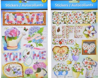 3 D Life and Love Flower Scrapbooking Stickers 2 pack 28 Stickers Total