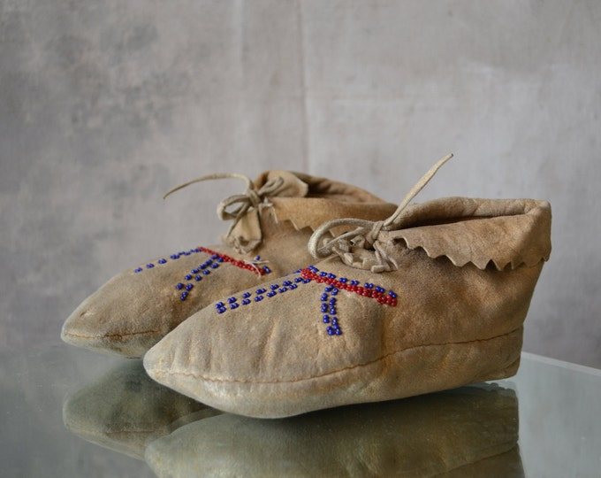 1920s Paiute Buckskin Leather Moccasins
