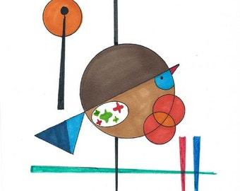 Handpainted Original Art - Mid Century Modern Atomic Art / Geometric Shapes / Circles / Bird