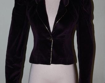 "Small Vintage velvet blazer, 1980's, gold piping, 34"" bust"