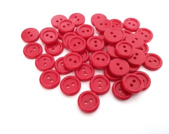 Red plastic sewing buttons - set of 45 vintage craft buttons 15mm