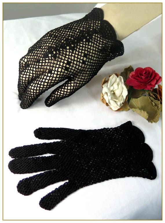 Edwardian Gloves, Handbag, Hair Combs, Wigs Black Crochet Gloves 100% Cotton $19.00 AT vintagedancer.com