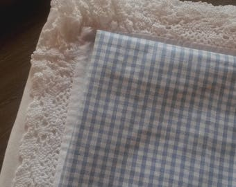 Blue gingham checked fabric / 45 X 50 cm