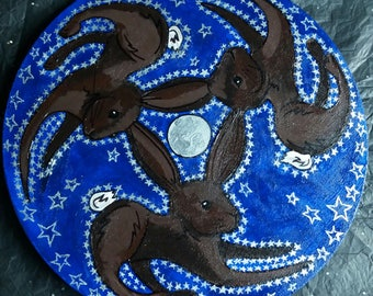 Three Hares and the Moon hand painted round canvas