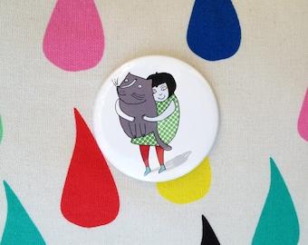 Cat Pocket Mirror - Lovable Kitty - cat mirror - crazy cat lady - cat illustration - cute cat gifts - I like cats