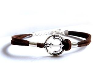Men's nautical bracelet, anchor bracelet & rope anchor, sea bracelet, leather bracelet, minimal
