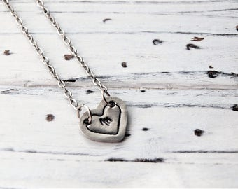 Women's Personalized Hand Stamped Initial Heart Pendant Necklace | Initial Jewelry | Initial Necklace | Heart Jewelry | Jewelry Gift For Her