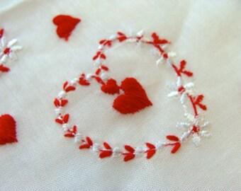 Vintage Valentine Embroidered Hankie N0 5