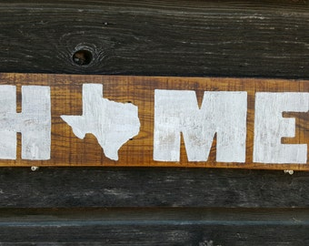 Hand Painted Wood Texas Home Sign
