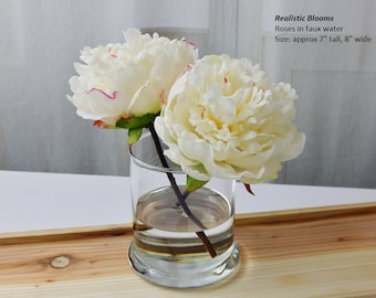 White/cream/pink/champagne peonies, glass vase, faux water, Real Touch flowers, floral arrangement, centerpiece, silk, wedding, decor, gift