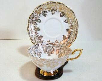 Royal Standard English Bone China Cup And Saucer Golden Grapes