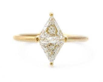 Rhombus Engagement Ring, One Carat Engagement Ring, Geometrical Engagement Ring, 1 Carat Diamond Ring, Minimalist Engagement Ring, 18k Gold
