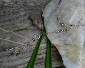 Sterling Crystal Pyrite Necklace