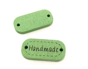 ♥ X 24mm HANDMADE wood button 1 green ♥