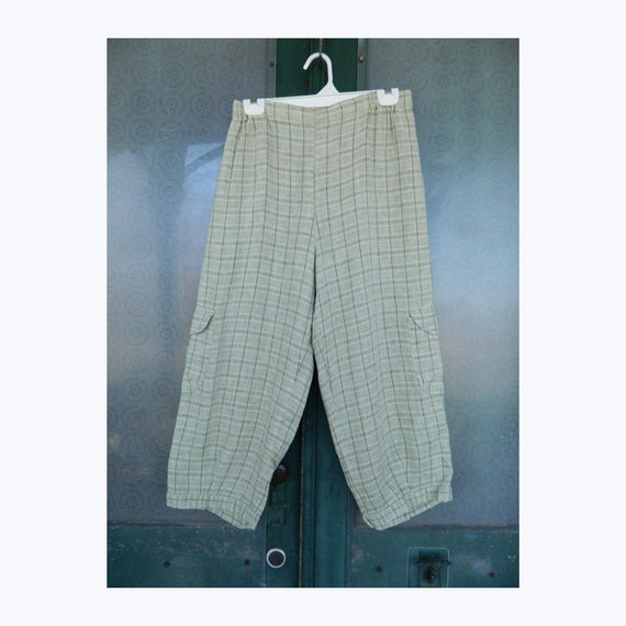 FLAX Engelhart Summer 2008 Side Pocket Pant -S- Green Plain Linen