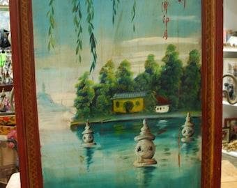 Vintage Asian Scenic Art Panel