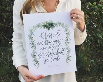 Christian Wall Art | Handlettered Print | Scripture Home Decor | Beattitude | Matthew 5:8 | Bible Verse Wall Art Decor | Green