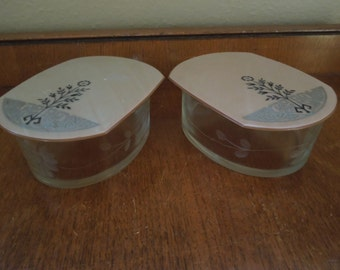 Art Deco Lucite Etched Glass Dresser Jars Set of Two
