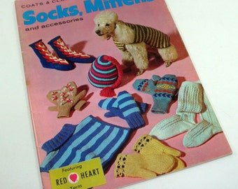 Vintage Children's Socks, Mittons, Patterns, Accessories To Knit And Crochet, 1967  (2811)