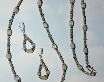 """Long LIBYAN DESERT GLASS Tektite Meteorite Impact Glass Rare Sterling Silver And 14K Gold Fill 30"""" Inch Long Bead Necklace And Earrings Set"""
