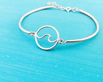 Wave Bracelet - Sterling Silver - Charm Bracelet - Adjustable - Nautical Jewelry - Coastal Jewelry - Beach Jewelry