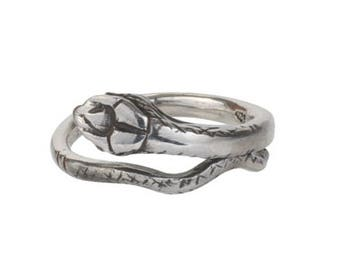 Solid 925 Sterling Silver Single Coil Adjustable Snake Ring