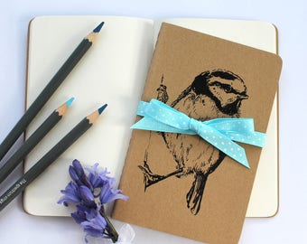 Blue Tit Notebook, Bird Notebook, Gocco Printed Pocket Moleskine Cahier Notebook