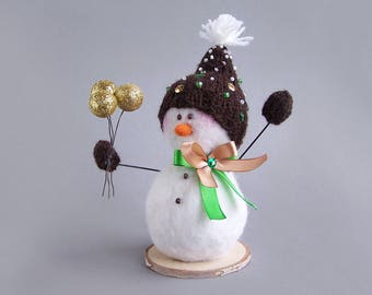 Winter snowman decor with hat, bow, mittens. White winter rustic gold, brown, green color Christmas Indoor Decoration. Cute gift 18cm/7""