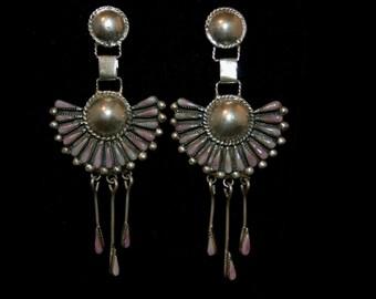 "Lovely Vintage Zuni Navajo Satellite Needle Point Purple Sugilite Cluster Chandelier Earrings 3 1/2"" Long"
