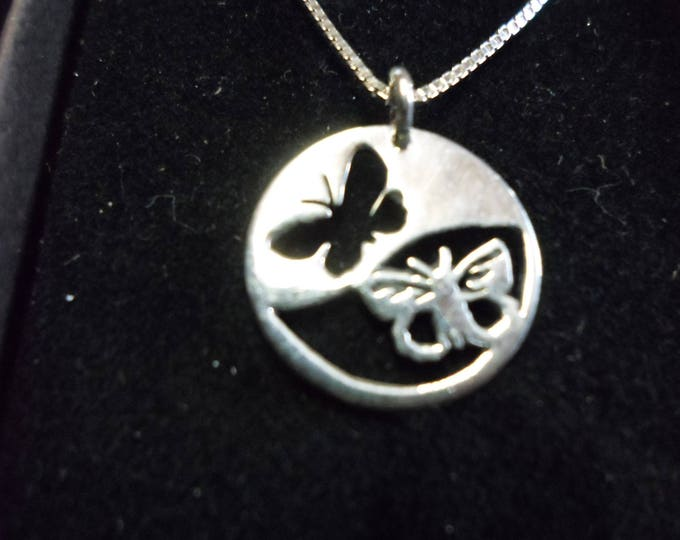 Reflection butterfly necklace dime size w/sterling silver chain