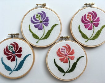 "Dancing Flowers by mlmxoxo. hand embroidered.  floral.  botanical.  nature lover's gift.  flower embroidery.  4"" embroidered hoop art."