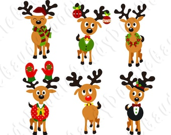 Christmas Reindeer Digital Clipart Vector, Instant Download, 300 ppi
