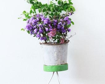 Vintage Galvanized Bucket ~ Large Planter~ Metal Bucket~ Galvanized Tub ~ Farmhouse Decor ~ Outdoor Planter ~ Metal Pail ~ Table Centerpiece