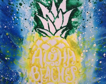 Melted Crayon Art, Pineapple, Aloha Beaches, Splatter, Tropical