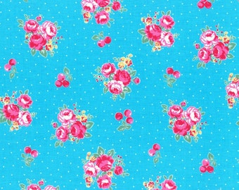 Lecien - Flower Sugar Berry Collection - Cherry Blossom in Turquoise
