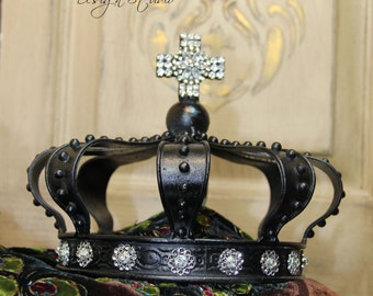 Black metal crown, Embellished crown, crown decor, Mediterranea Design Studio, black crown, crown cake topper, wedding crown, wedding decor