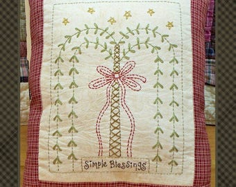 Simple Blessings Willow-Primitive Stitchery -E-PATTERN-by Primitive Stitches-Instand Download