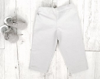 Baby and Toddler Trousers in white, grey or blue chambray 100% cotton size newborn-2