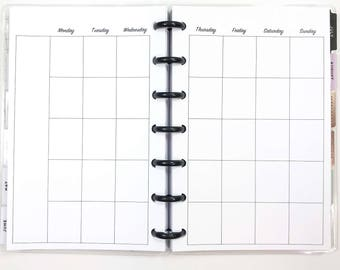 UNDATED Month on Two Pages, Monthly Calendar Inserts for Mini Happy Planner, Mini Size Disc Planner