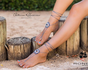 Beaded and Crocheted barefoot sandals