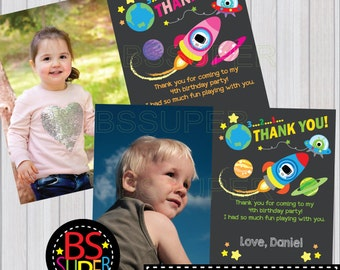 Outer Space Birthday Thank You Card, Space Party Thank you card