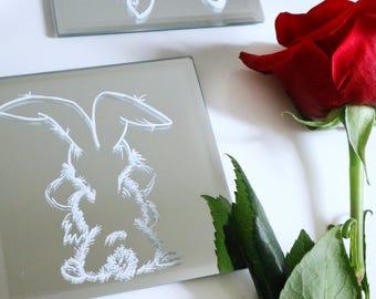 Tortoise & the Hare Mirrored Coasters - 5x5