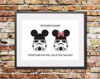 Wedding - Engagement - Anniversary - Valentines - Gift - Personalised Gift - Disney - Star Wars - Stormtrooper - Mickey and Minnie - Couple
