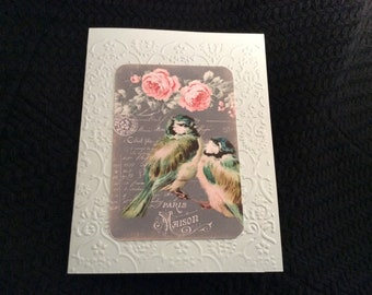 Birds resting on a branch Paris Madison Card Embossed