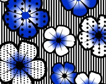 Blue Exotic Flowers Beach Towel